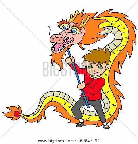 Chinese New Year Celebration with dragon dance illustration