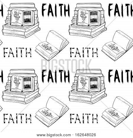 Faith. Books and Bible lettering. Brush calligraphy. Hand drawing illustration. Words about God. Seamless vector pattern.