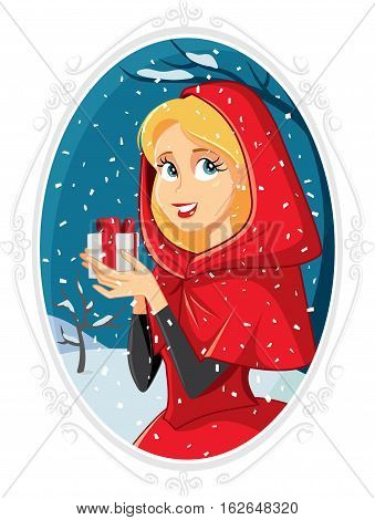 Christmas Princess With Gift Box in Winter Outside