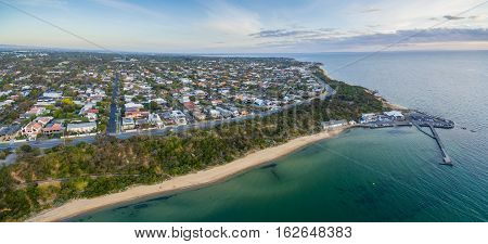 Aerial Panorama Of Black Rock Suburb, Pier, And Wharf Melbourne, Australia