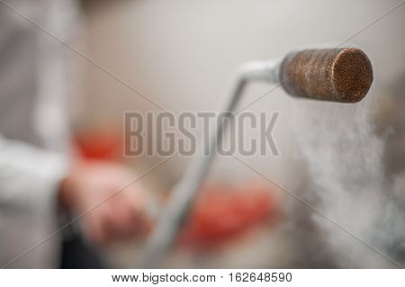Smoking Frozen Pipe For Liquid Nitrogen