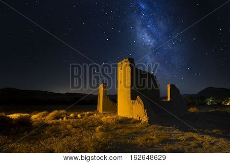 Fort Churchill. Nevada. Shallow Depth Of Field With Focus On Near Wall At Night With The Milky Way.