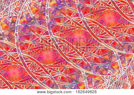 Abstract Intricate Mosaic Ornament In Pink, Red, Orange And White Colors. Fantasy Fractal Background