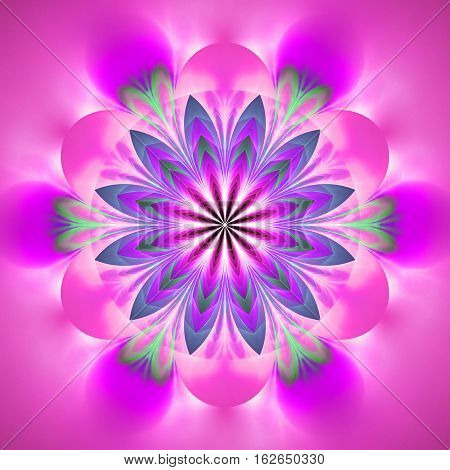 Abstract Exotic Flower. Psychedelic Mandala Design In Pink, Green And Blue Colors. Fantasy Fractal A