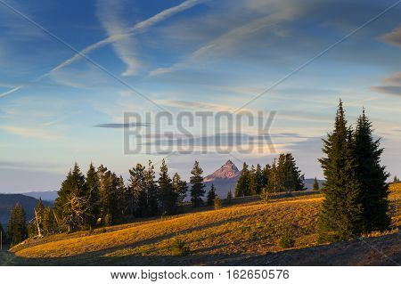 Mount Thielsen, Or Big Cowhorn, Is An Extinct Shield Volcano In The Oregon High Cascades, Near Mount