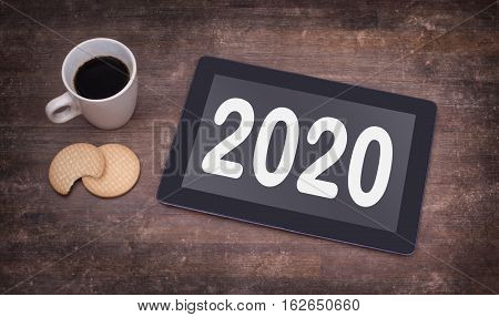Tablet Touch Computer Gadget On Wooden Table - 2020