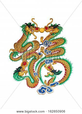 Four China Dragons Statue On The White Background.