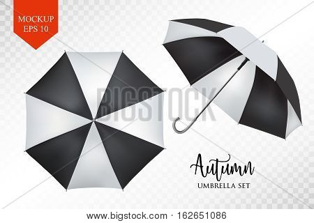 Vector realistic parasol rain umbrella, Sunshade set. black striped , isolated .Blank Classic Round slanted Mock up isolated .Side, top View.illustration object for advertising, poster, banner design.