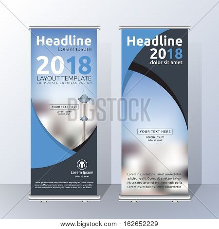 Vertical Roll Up Banner Template Design for Announce and Advertising. Abstract Blue and Black Layout Template. Vector illustration