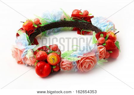 colorful fake flower crown or forest coronal isolated on white background.