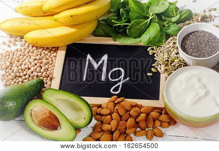 Products Containing Magnesium. Healthy Food.