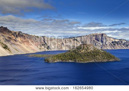 Wizard Island At Crater Lake In Oregon