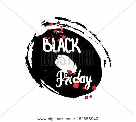 Handwritten text Black Friday . Brush script lettering. Black and red abstract stain. Vector design.