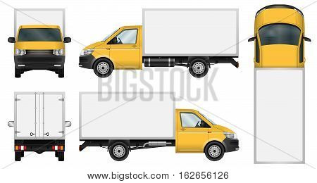 Yellow delivery van vector template. Isolated mini truck on white background. All elements in groups on separate layers. The ability to easily change the color.