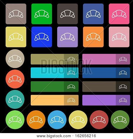 Croissant Bread Icon Sign. Set From Twenty Seven Multicolored Flat Buttons. Vector