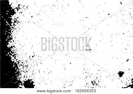 Distressed surface vector illustration with black drops. Obsolete texture of old wood wall with paint stains. Black traced texture for vintage effect. Realistic old surface. Monochrome vintage effect