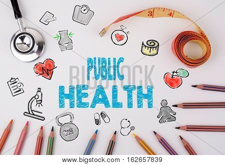 Public Health concept. Healty lifestyle background on a white table