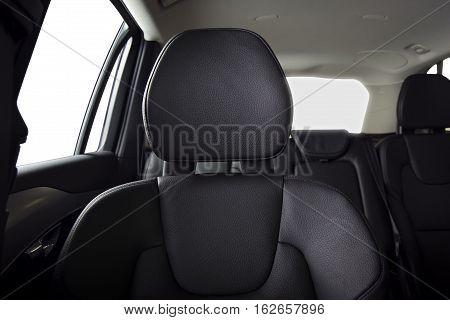 Passenger seats in modern sport car, frontal view