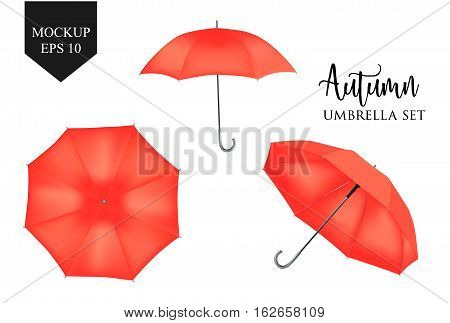 Vector realistic parasol rain umbrella, Sunshade set. red colored, isolated .Blank Classic Round slanted Mock up isolated .Side, top View.illustration object for advertising, poster, banner design.