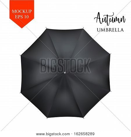 Vector realistic parasol rain umbrella, Sunshade set. white black, isolated .Blank Classic Round slanted Mock up isolated .top View .object for advertising, poster, banner design.