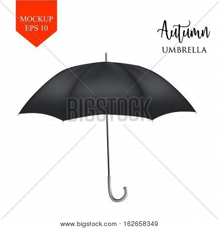Vector realistic parasol rain umbrella, Sunshade set. black colored, isolated .Blank Classic Round Mock up isolated .Side View, slanted .object for advertising, poster, banner design.