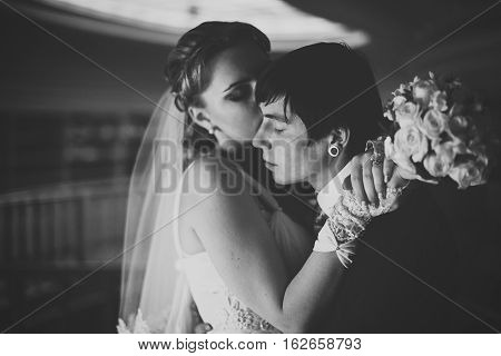 Black And White Picture Of Daydreaming Newlyweds