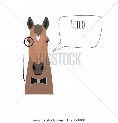 Vector hipster flat horse wearing black bowtie and monocle saying hello isolated. Object for advertisement, web page design, poster, banner, print element. Flat, cartoon style