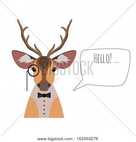 Vector hipster horned deer in suit and bowtie with monocle saying hello isolated. Object for advertisement, web page design, poster, banner, print element. Flat, cartoon style illustration