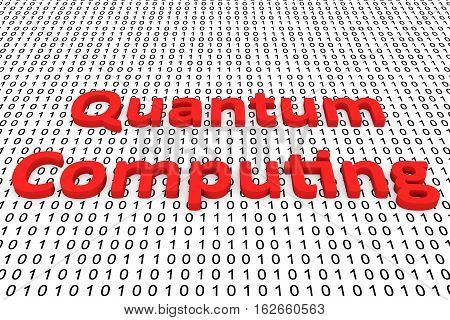Quantum computing in binary code, 3D illustration