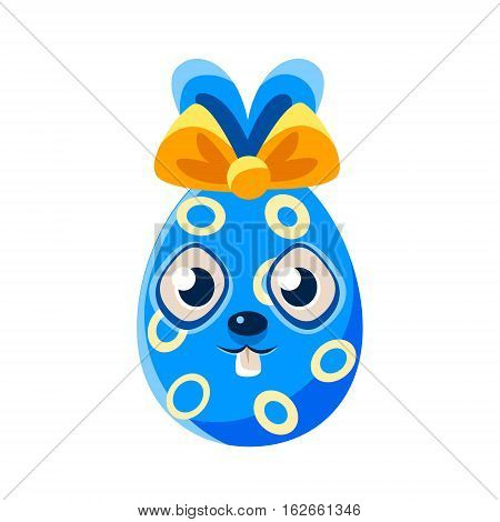Easter Egg Shaped Blue Easter Bunny With Bow Colorful Girly Religious Holiday Symbol Emoji. Adorable Rabbit As Christian Holyday Traditional Decoration Vector Element.
