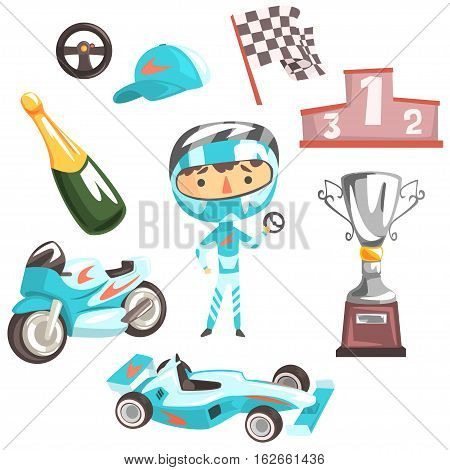 Boy Speed Racer, Kids Future Dream Professional Occupation Illustration With Related To Profession Objects. Smiling Child Carton Character With Career Attributes Around Cute Vector Drawing.