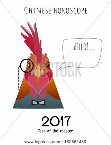 Vector hipster flat rooster wearing black bowtie and monocle saying hello isolated. Object for advertisement, web page design, poster, banner, print element. Flat, cartoon style