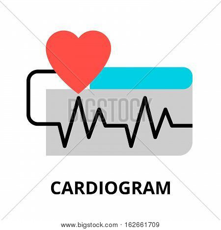 Modern flat editable line design vector illustration concept of cardiogram icon for graphic and web design