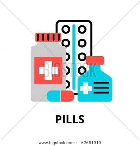Modern flat editable line design vector illustration concept of pills icon for graphic and web design