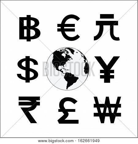 Globe with money cycle symbol. Various currencies signs. Banking international trading money exchange financial system concept. Line vector illustration.