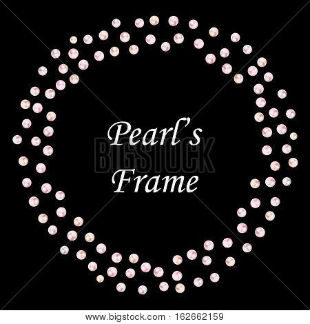 vector seamless border of pearls. Place for text