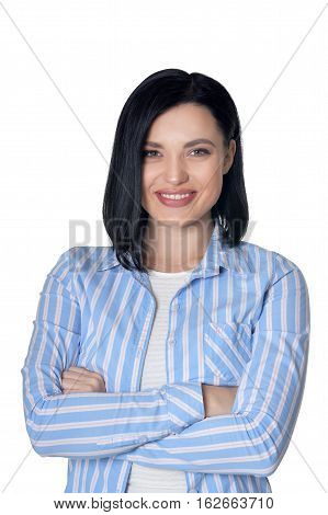 Portrait of smiling youn woman isolated on white background