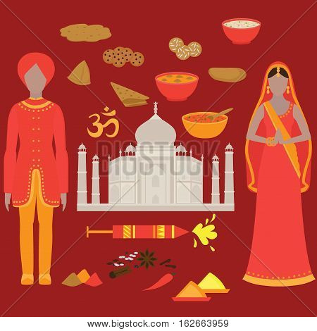 India set. Hinduism design elements. South Asia beautiful woman and man wearing indian traditional cloth. Taj Mahal Temple Landmark in Agra. Vedic cuisine, set of vegetarian healthy food. Holi traditional festival of colours.