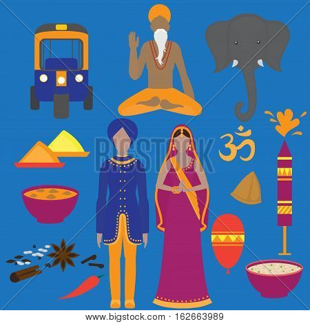 India symbols set. Hinduism design elements. South Asia beautiful woman and man wearing indian traditional cloth. Vedic cuisine, set of vegetarian healthy food. Holi objects for traditional festival of colours.