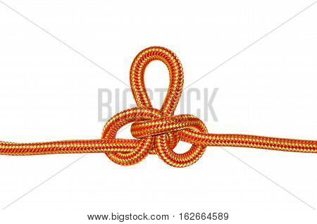 Austrian conductor knot. From the orange rope isolated on a white background.