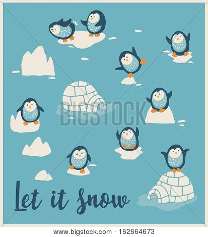 Let it snow. Greeting card with little cute penguins. Vector illustration.