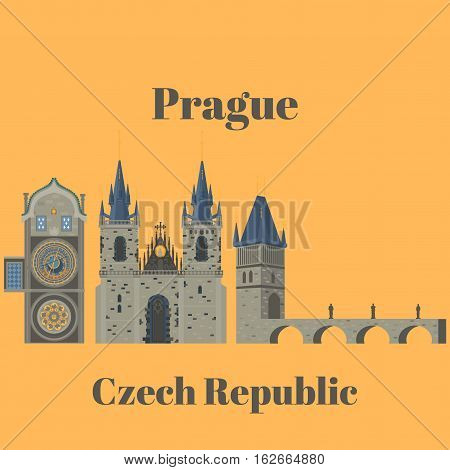 Prague town, Czech Republic. Church of Mother of God before Tyn, Old Town Square in European city. Famous, tourists travel, popular routs