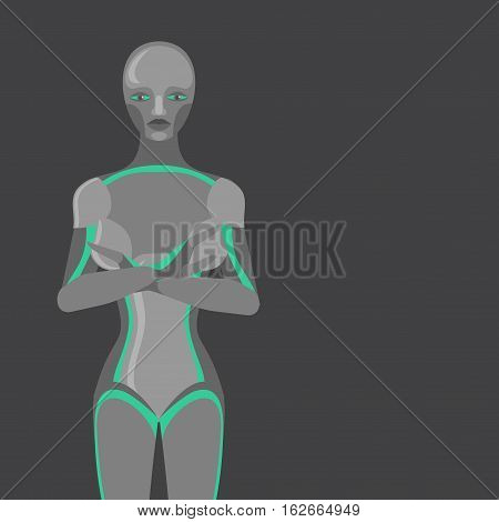 Robot woman, female cyborg, technology characters, flat humanoid from future, mechanical chrome body
