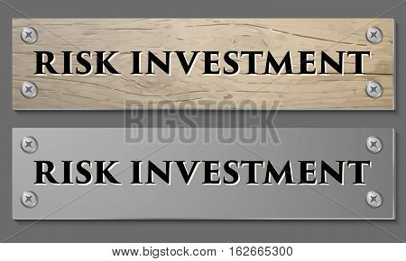 Abstract background with wooden pattern and glass panel with the words risk investment