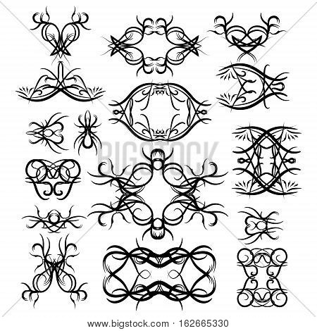Tribal element set. May be used for tattoo. Black tribal elements.