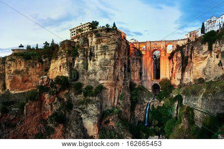 Ronda Spain. Illuminated New Bridge over Guadalevin River in Ronda Andalusia Spain. Popular landmark in the evening
