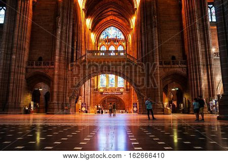 LIVERPOOL UK - SEPTEMBER 5 2014: Interiors of the Church of England Anglican Cathedral of the Diocese of Liverpool ranking as the fifth-largest cathedral in the world. Located at St James's Mount