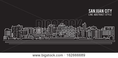 Cityscape Building Line art Vector Illustration design - San juan city