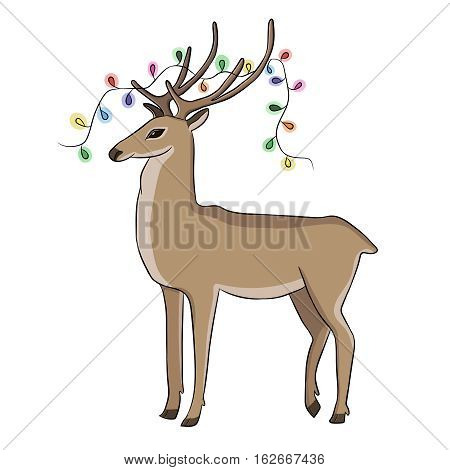 Deer in whose horns glisten Christmas tree garland