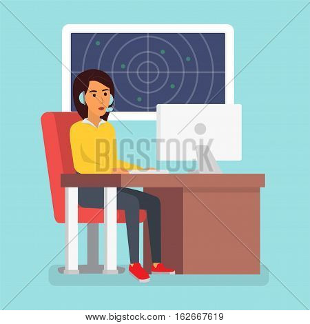 Happy smiling customer service phone operator. Call center online tech support. Flat design vector illustration